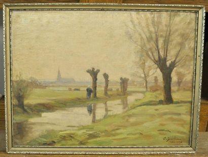 Paul SEBILLEAU (1847-1907) Bord de rivière...