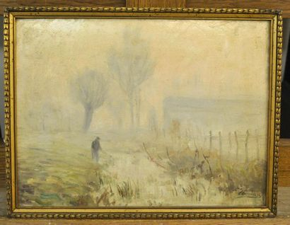 Paul SEBILLEAU (1847-1907) Character in the mist in the countryside Oil on wood...