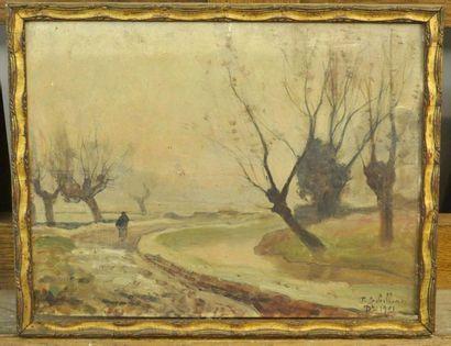 Paul SEBILLEAU (1847-1907) Paysan en bord de rivière Huile sur bois 27 x 35 cm Signé...