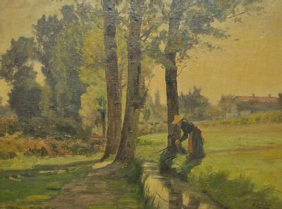 Paul SEBILLEAU (1847-1907) La lavandière...