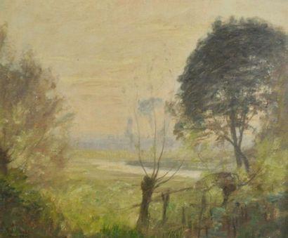 Paul SEBILLEAU (1847-1907) Paysage de campagne...
