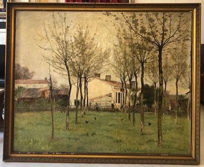Paul SEBILLEAU (1847-1907) Journée grise en avril Huile sur toile d'origine 120...