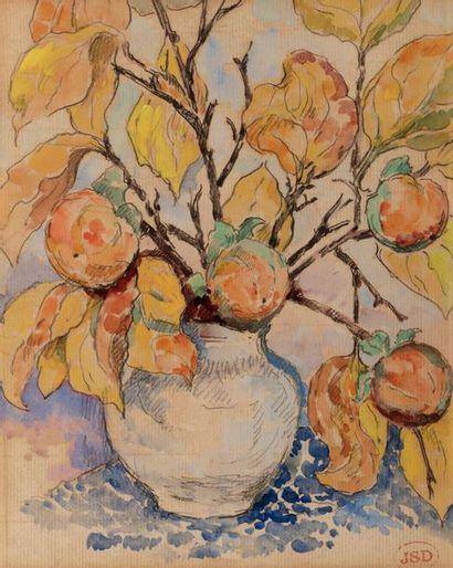 Jeanne SELMERSHEIM-DESGRANGES ( 1877-1958 ) Vase of fruit tree branches Watercolor...