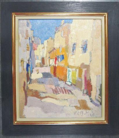 Pierre VELLUTINI (1931 - 2014) Rue de village...