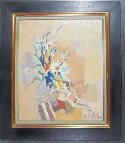 Pierre VELLUTINI (1931 - 2014) Composition with flowers Original oil on canvas 55...