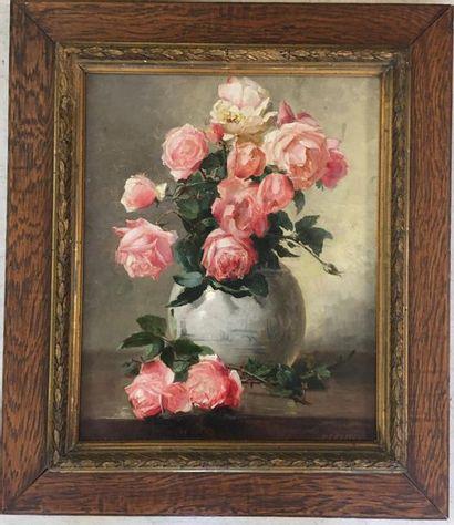 Emile VERNON (1872 - 1920) Bouquet de roses...