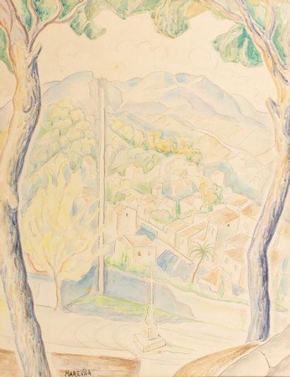 Marie VOROBIEFF MAREVNA (Tcheboksary 1892-London 1984) Mediterranean Village Watercolour...