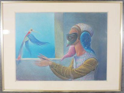 José de ZAMORA (1889 - 1971) Femme masquée...