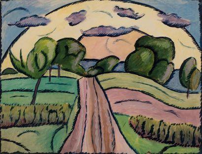 Attribué à Vladimir BARANOFF-ROSSINE (1888-1944) Chemin sous le soleil Gouache sur...