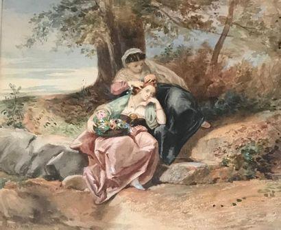 Henri BARON (1816 - 1885) Deux jeunes femmes tenant un panier de fleurs Aquarelle...