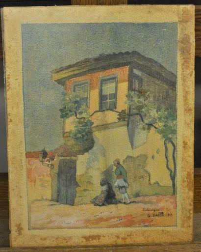 G BAYOL ( actif au XX ème siècle) Personnages à l'entrée d'une maison Aquarelle...