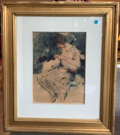 Abel BELTRAM (Saint Omer 1871 - Paris 1954) Woman sewing Watercolour and ink 32...