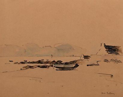 Abel BERTRAM (Saint Omer 1871-Paris 1954) Petit port breton Encre et aquarelle sur...