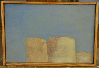 BIBONNE Composition Oil on canvas 16 x 24 cm Annotated on the back Bibonne 79