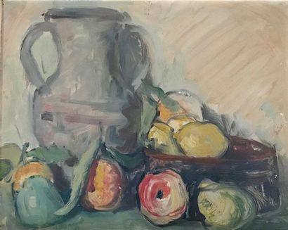 Maurice BISMOUTH (Tunis 1891 - Los Angeles 1965) Nature morte au pichet et fruits...