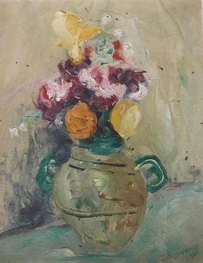 Maurice BISMOUTH (Tunis 1891 - Los Angeles 1965) Bouquet de fleurs Huile sur papier...