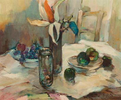 M. BOGAERTS (Actif au XX ème siècle ) Le déjeuner bleu Huile sur toile d'origine...
