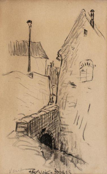 Frank BOGGS (Springfield 1855 - Meudon 1926) Pont sur le rû à Vert Saint-Denis Crayon...