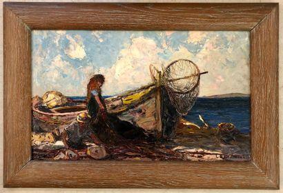 Louis BONAMICI (Livourne 1878- Le Lavandou 1966) Couple de pêcheurs ravaudant ses...