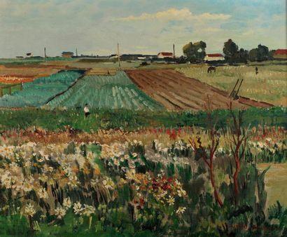Jacques BOUYSSOU (La Rivière Saint Sauveur 1926 - 1997) Champ de fleurs, 1966 (Carrière)...