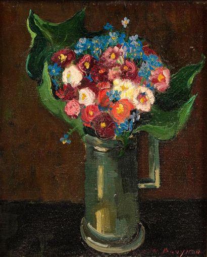 Jacques BOUYSSOU (La Rivière Saint Sauveur 1926 - 1997) Vase de fleurs Huile sur...