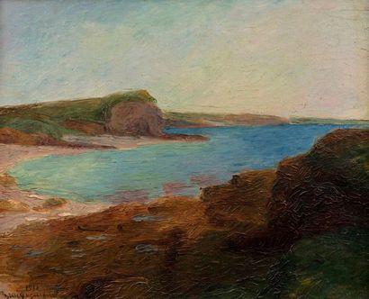Pierre BRACQUEMOND (Paris 1870 - 1926) Bord de mer, 1911 Huile sur toile d'origine...