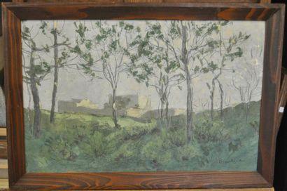 Eugène BROUILLARD (1870-1950) Paysage Huile sur carton fort 32x52cm Signé en bas...