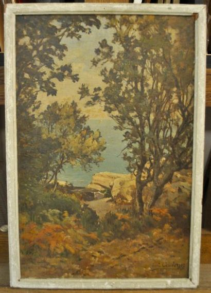 Louis CABIE (Dôle 1853-1939) Rochers et pins...