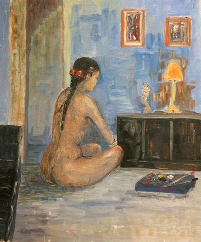 Jacques CAMUS (Actif au XX ème siècle) Nue Huile sur toile d'origine 54,5 x 46 cm...
