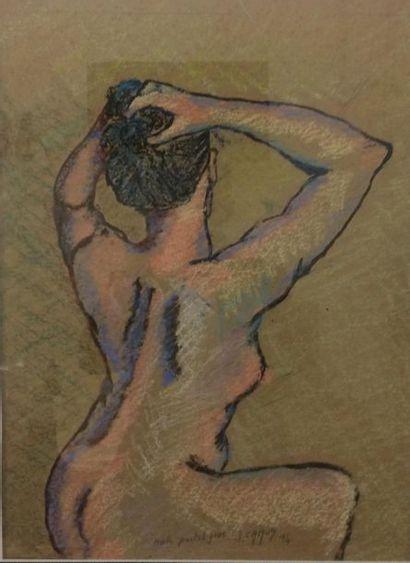 Jacques CAMUS ( Actif au XX ème siècle) Nue de dos Pastel gras 54,5 x 46 cm Signé...