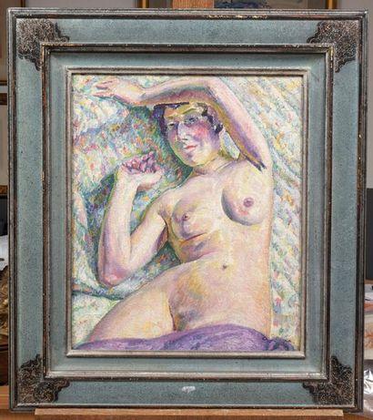 Augustin CARRERA (1878 -1952) Nu Huile sur toile d'origine 55 x 46 cm Signé en bas...