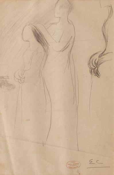Eugène CARRIERE (Gournay 1849 - Paris 1906) Femme coiffée par une autre Crayon sur...