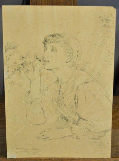 Antonio Salvador CASANOVA Y ESTORACH La jeune femme et la rose Trait de plume encre...