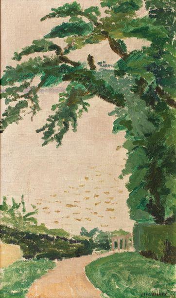 Jules CAVAILLES (Carnaux 1901 - Epineuil 1977) Parc Huile sur toile d'origine 55...