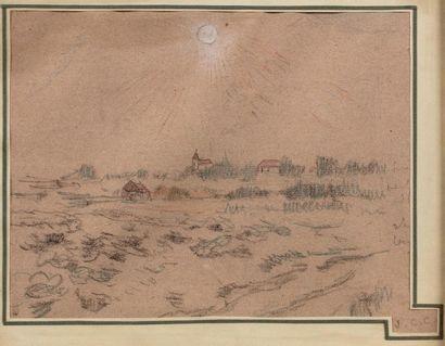Jean - Charles CAZIN (Samer 1841- Le Lavandou 1901) Landscape Charcoal, black chalk,...