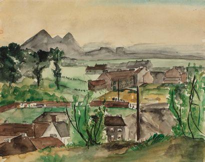 Pol BURY (1922-2005) Pol BURY(1922-2005) Paysage,circa 1937/38 Aquarelle 21,5...