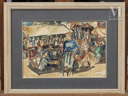 Henri EPSTEIN (Lodz 1891 - Auschwitz 1944) Scène de marché  Réalisé en 1924  Aquarelle...