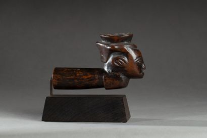 Fourreau de pipe sculpté du portrait d'un...