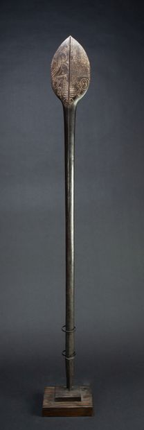 Rare ceremonial paddle, the upper part in...