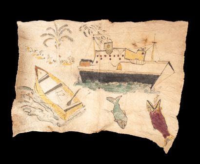 ensemble de six tapas peints de motifs symboliques,...