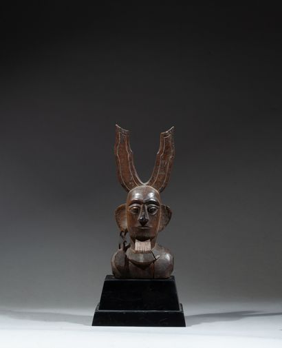 bust of chief with distended ear topped by...