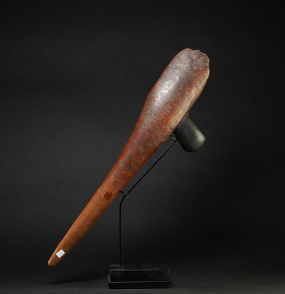 Important axe with its polished stone  Wood, carved and polished green stone  Papua...