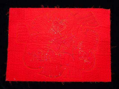ensemble de quatre molas  Tissu cousu et découpé sur plusieurs couches formant un...