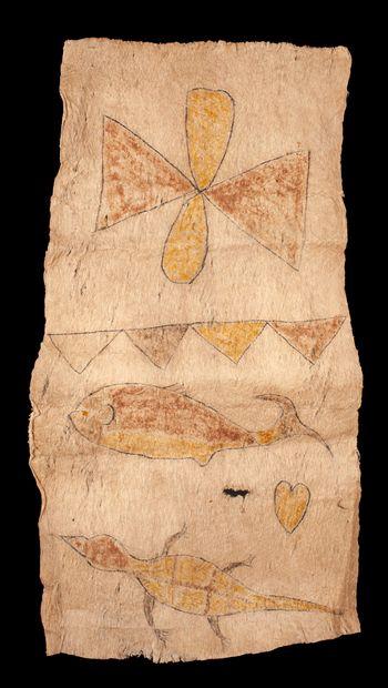 ensemble de six tapas peints de motifs symboliques, scènes de pêche, animaux mythiques,...