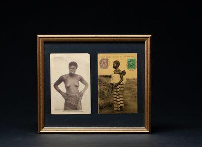 Ensemble de cinq cartes postales présentant...