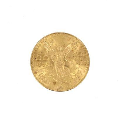 A gold coin of 50 Pesos Mexico