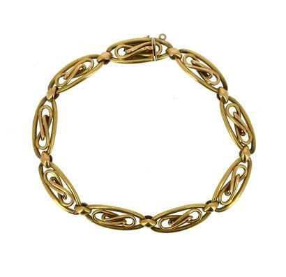 Bracelet en or jaune 18 K (750 °/°°) à maillons...