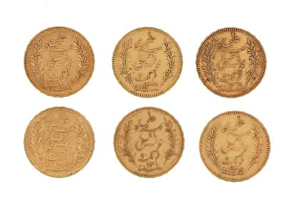 Six gold coins of 20 FF Tunisia  1891 A,...