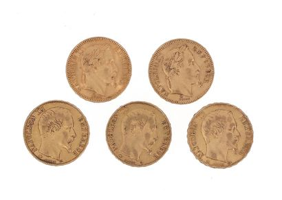 Five gold coins of 20 FF Napoleon III :...