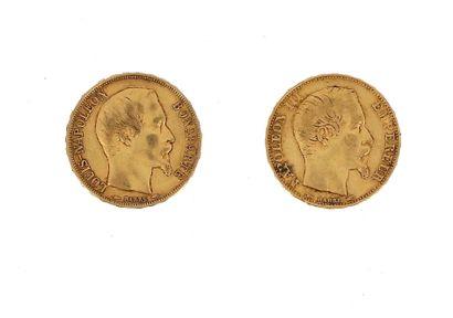 Two 20 FF gold coins:  - 1 x 20 FF Louis-Napoléon...